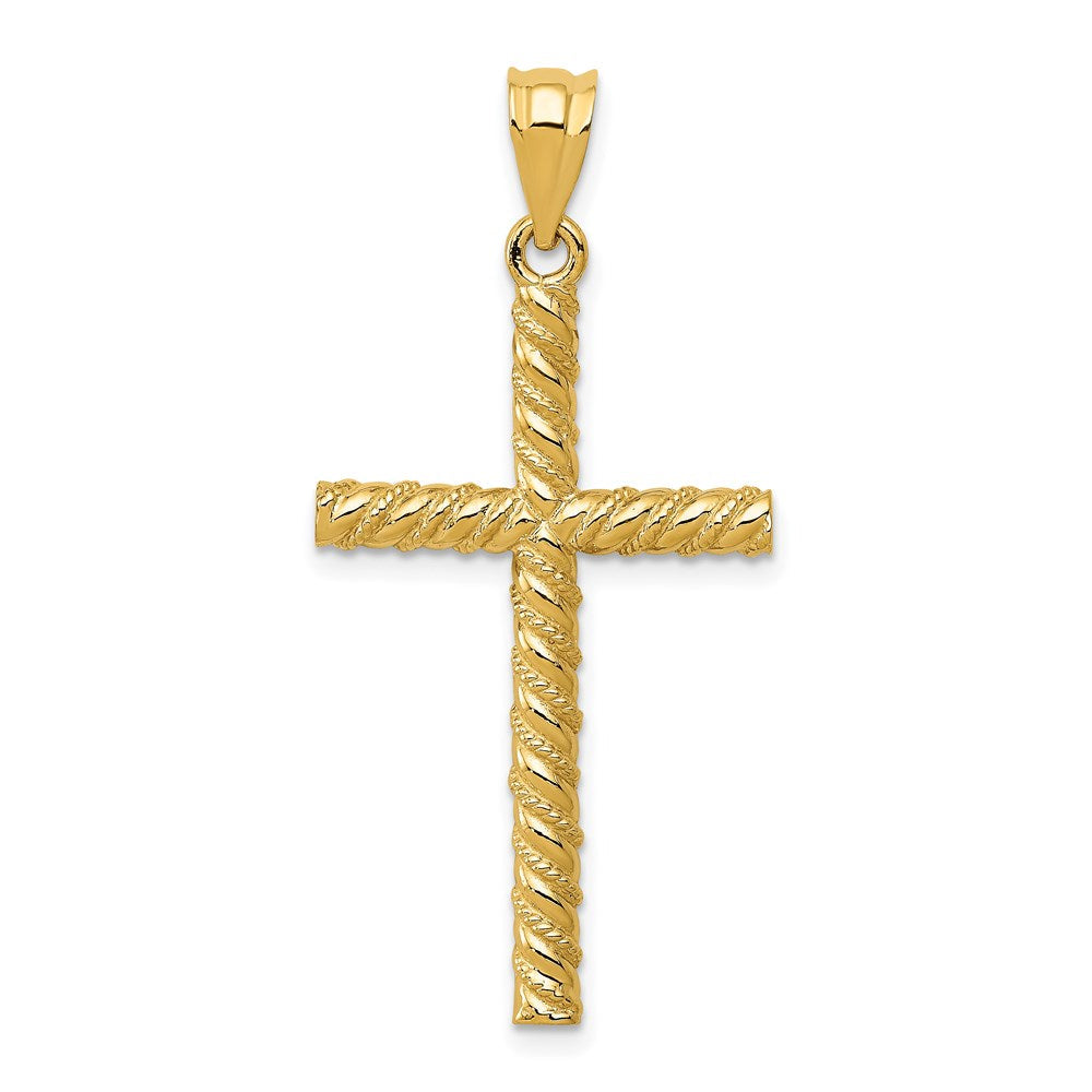 Quality Gold 14k Satin & Diamond -Cut Cross Pendant | Solid | Casted | Diamond-cut | Satin | 14k Yellow gold | Open back