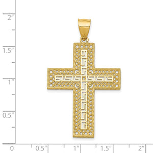 Quality Gold 14k Greek Key Filigree Cross Pendant | Casted | Diamond-cut | Polished | Satin | 14k Yellow gold | Open back | Filigree