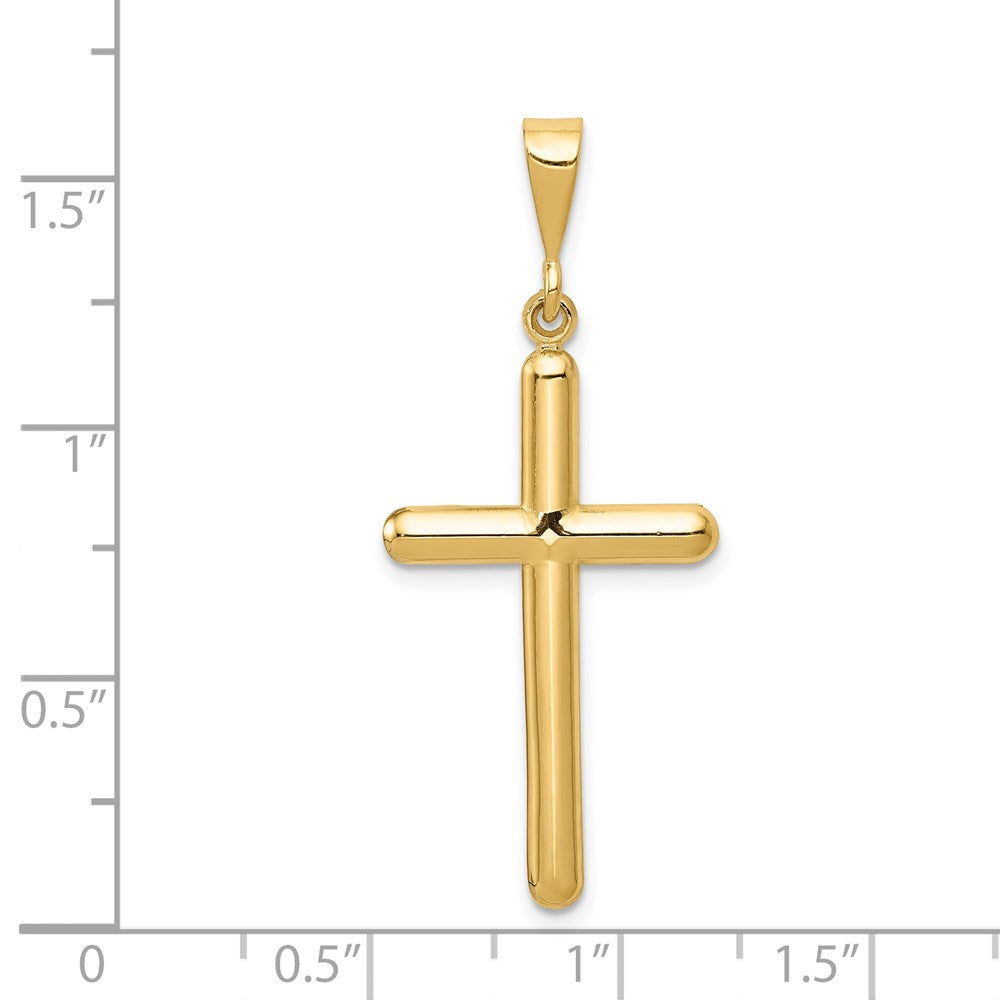 Quality Gold 14k Cross Pendant | Solid | Polished | 14k Yellow gold | Textured back