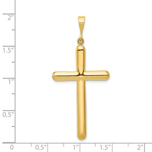 Quality Gold 14k Cross Pendant | Polished | 14k Yellow gold | Hollow | Not engraveable