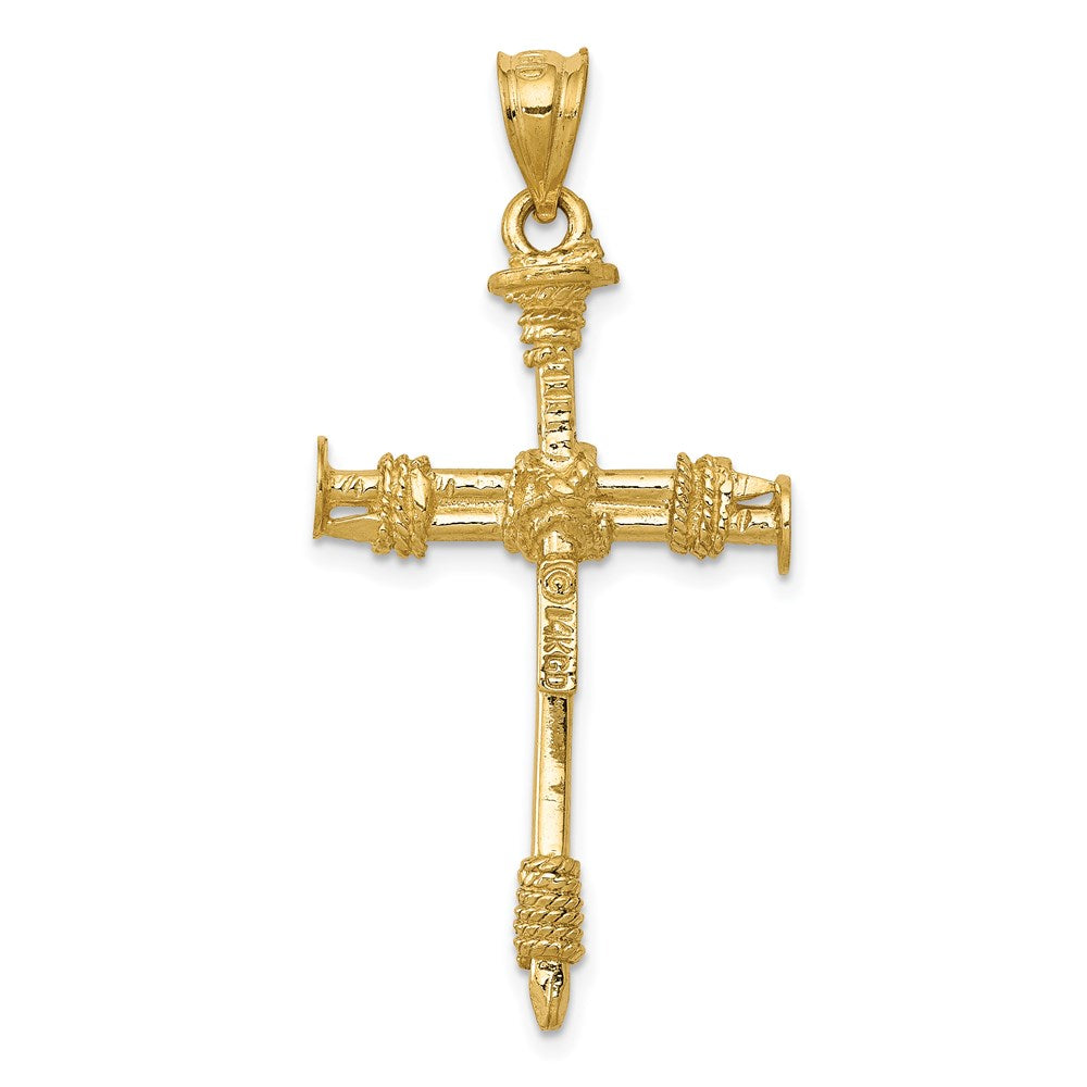 Quality Gold 14k Polished Nail Cross Pendant | Solid | Casted | 3-D | 14k Yellow gold | Polished & satin