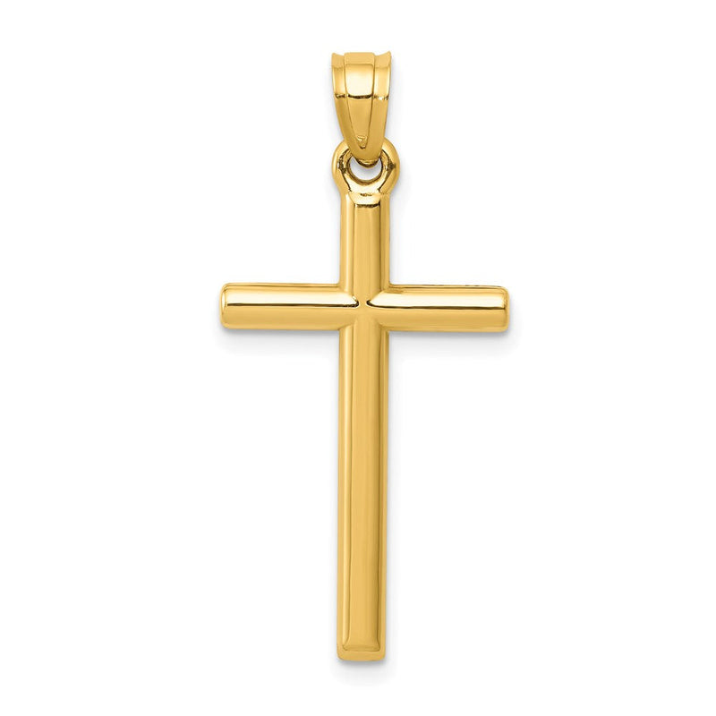 Quality Gold 14k Polished Hollow Cross Pendant | Polished | 3-D | 14k Yellow gold | Hollow