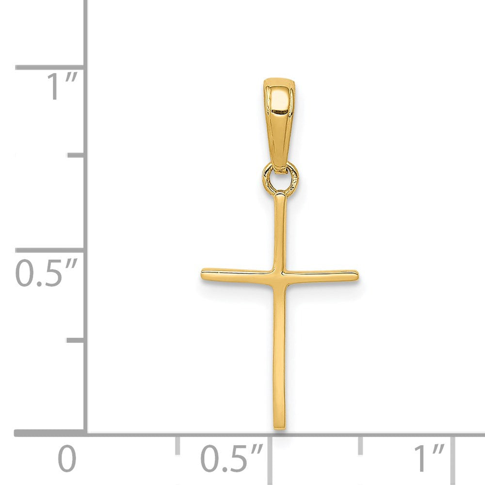Quality Gold 14k Polished Cross Pendant | Traditional Latin Cross Style | Men's | Women's | Pendants & Charms | 14k Yellow Gold | Size 24 mm x 12 mm