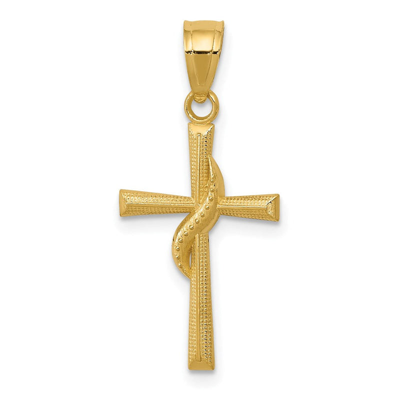 QG 14k Polished Cross Pendant | Traditional Methodist Cross Style | Men's | Women's | Pendants & Charms | 14k Yellow Gold | Size 25 mm x 12 mm