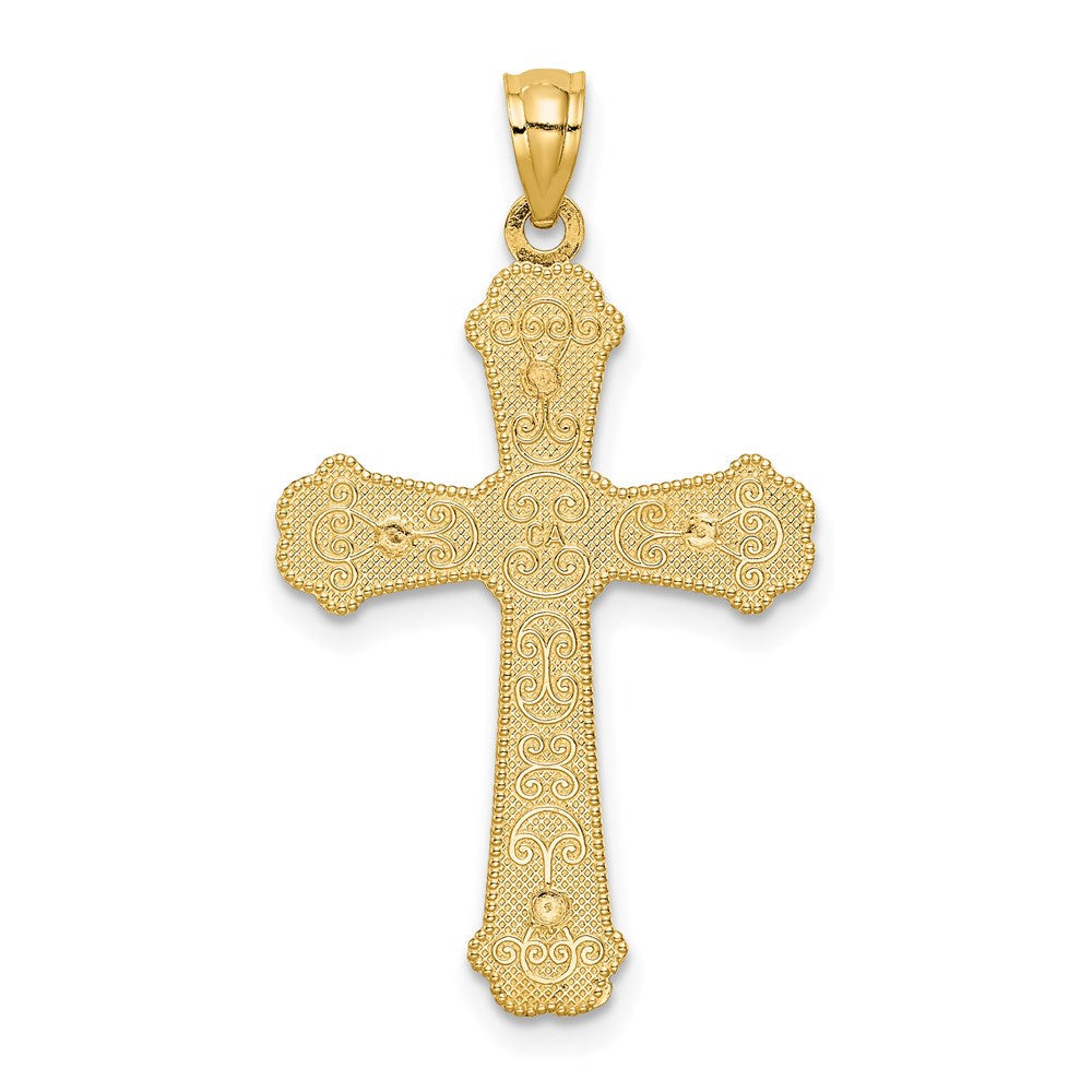 Quality Gold 14k Two-tone Hearts Cross Pendant | Solid | Casted | Diamond-cut | Polished | 14K Two-tone | Filigree | Textured back