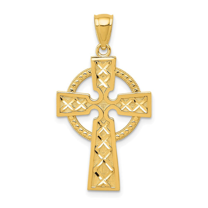 Quality Gold 14k Celtic Cross Pendant | Solid | Casted | Diamond-cut | Polished | 14k Yellow gold | Open back | Not engraveable | Textured | Textured back