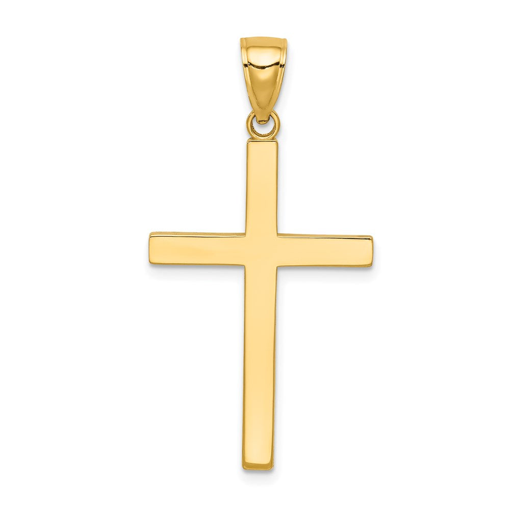 QG 14K Stick Cross Pendant | Traditional Latin Cross Style | Men's | Women's | Pendants & Charms | 14k Yellow Gold | Size 38 mm x 20 mm