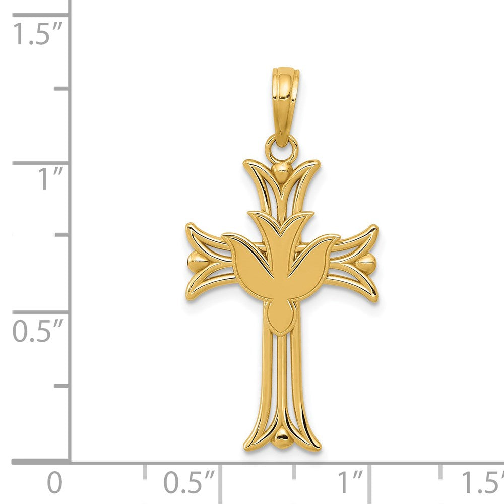 Quality Gold 14K Dove on Cross Pendant | Polished | 14k Yellow gold | Open back