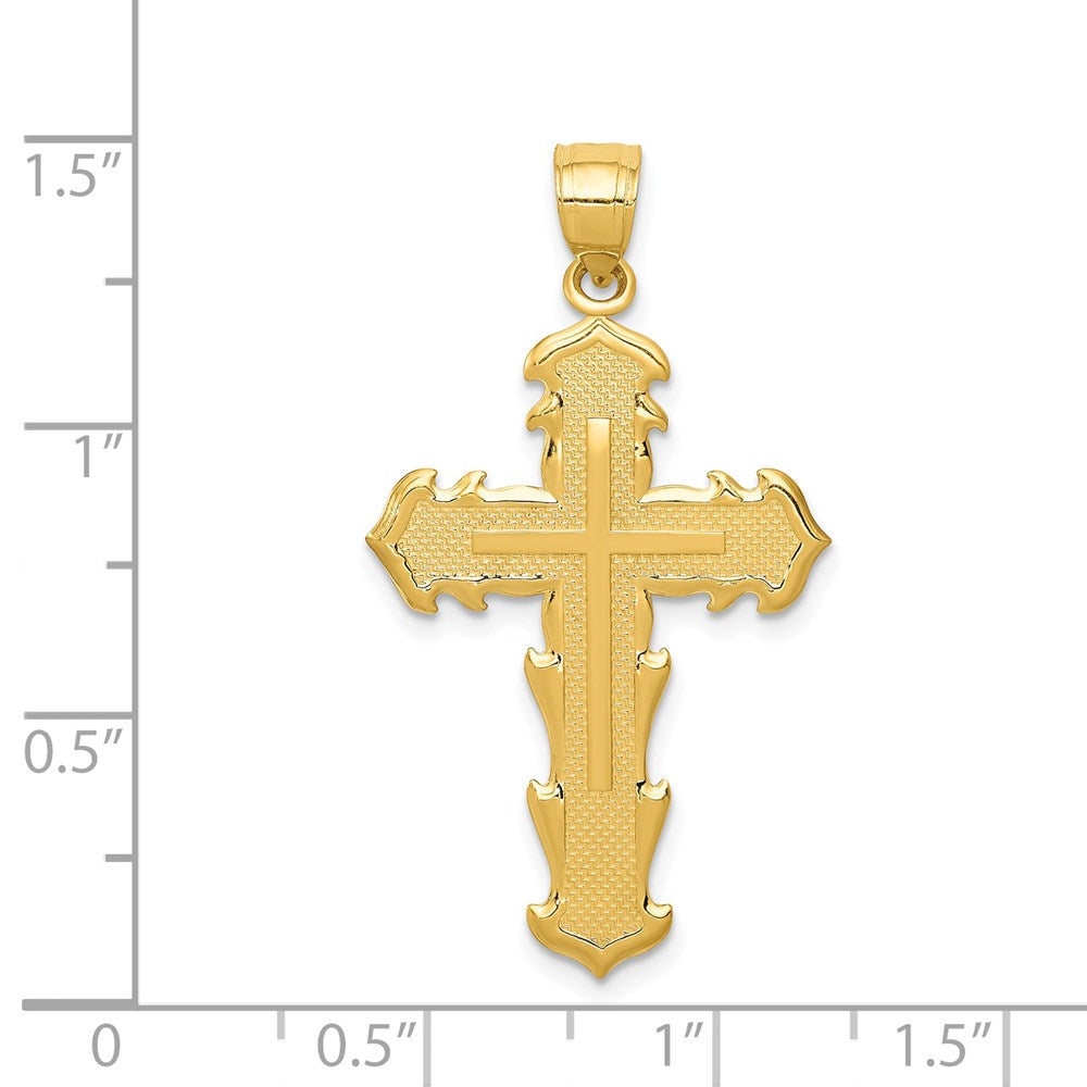 QG 14k Passion Cross Pendant | Traditional Latin Cross Style | Men's | Women's | Pendants & Charms | 14k Yellow Gold | Size 36 mm x 20 mm