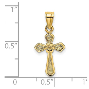 Quality Gold 14K Small Cross w/Flower Charm | Polished | 14k Yellow gold | Textured | Textured back