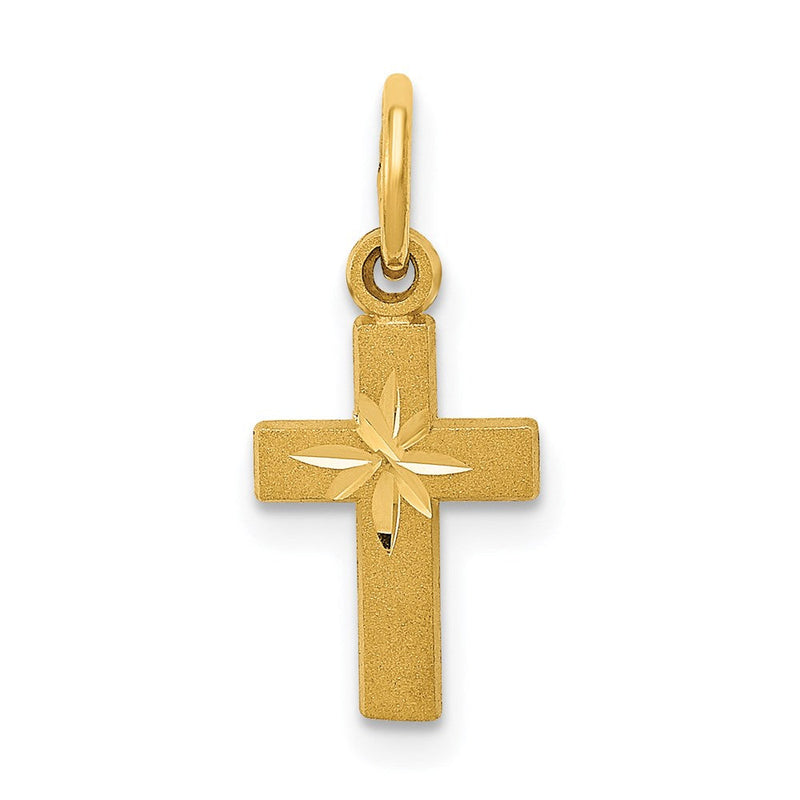 QG 14k Tiny Cross Charm | Traditional Latin Cross Style | Men's | Women's | Pendants & Charms | 14k Yellow Gold | Size 19 mm x 8 mm