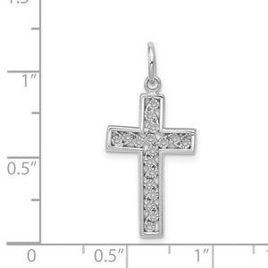 Quality Gold 14k White Gold Cross Charm | Solid | Casted | Polished | 14K White gold | Textured