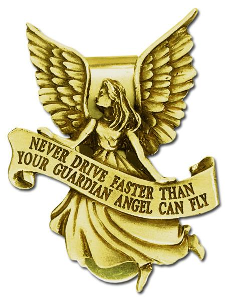 Auto Visor Clip Guardian Angel Gold | Guardian Angel | Catholic Sacramental | Catholic Teenager | Mens Womens | Confirmation Gift