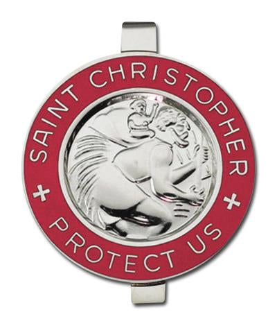 Auto Visor Clip St. Christopher Silver & Red | St. Christopher | Catholic Sacramental | Catholic Teenager | Mens Womens | Confirmation Gift