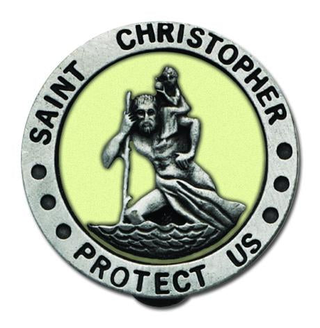 Auto Visor Clip St. Christopher Glow in the Dark | St. Christopher | Catholic Sacramental | Catholic Teenager | Mens Womens | Confirmation Gift