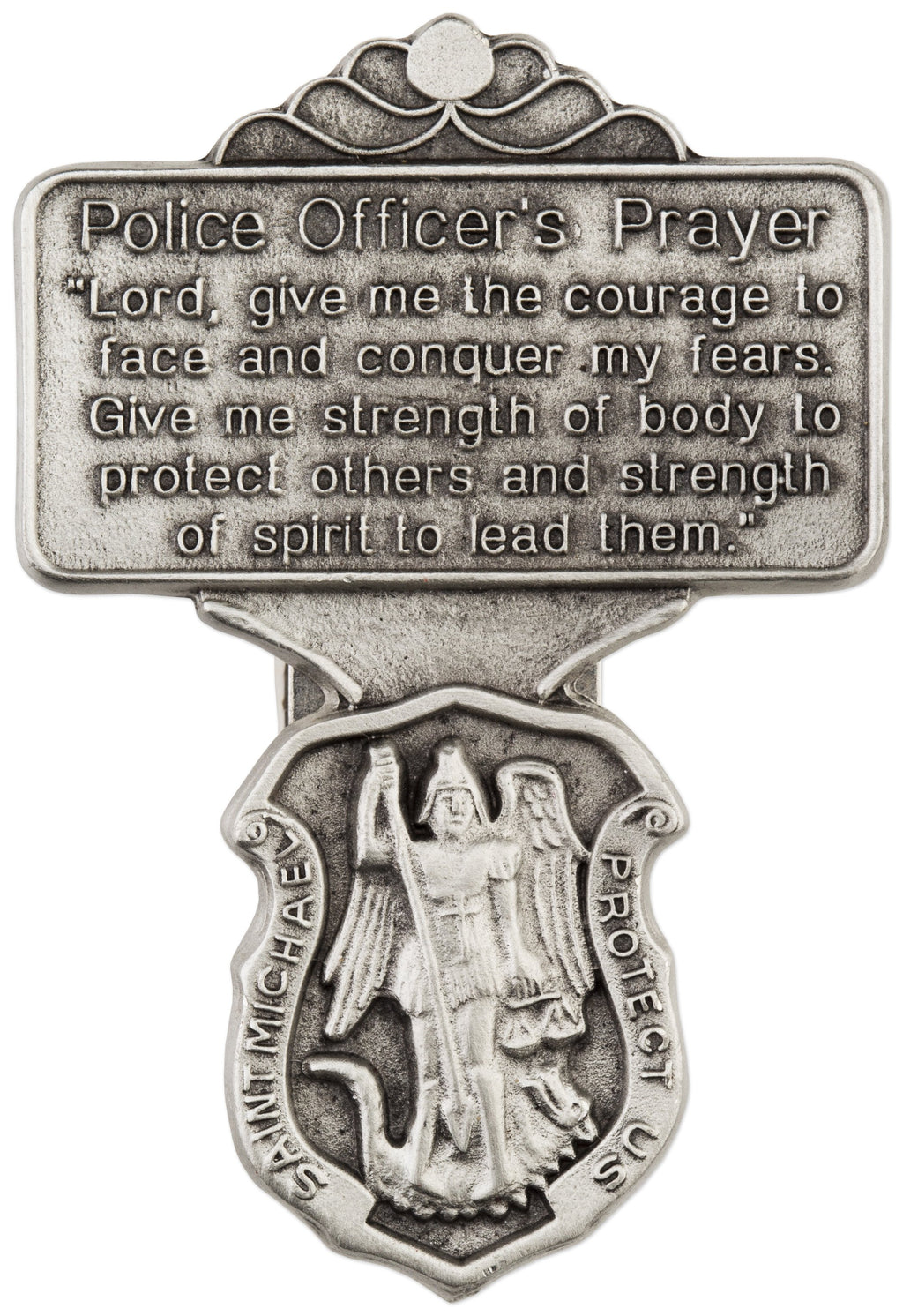 Auto Visor Clp St. Michael Police Pewter | St. Michael  | Catholic Sacramental | Catholic Teenager | Mens Womens | Confirmation Gift