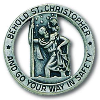 Auto Visor Clip St. Christopher Pewter | St. Christopher | Catholic Sacramental | Catholic Teenager | Mens Womens | Confirmation Gift