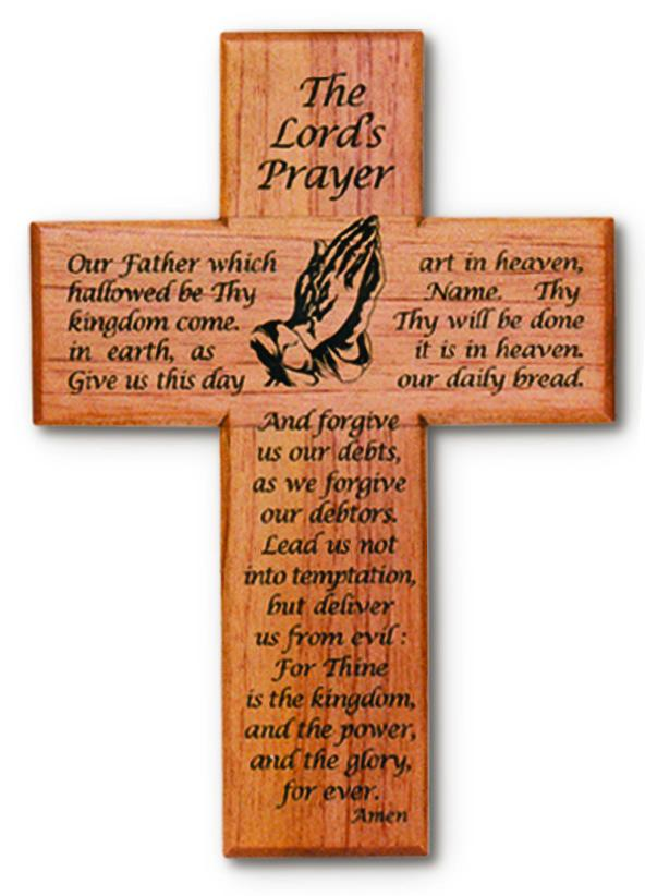 "8"" Cross-Mahogany-Lord'S Prayer 