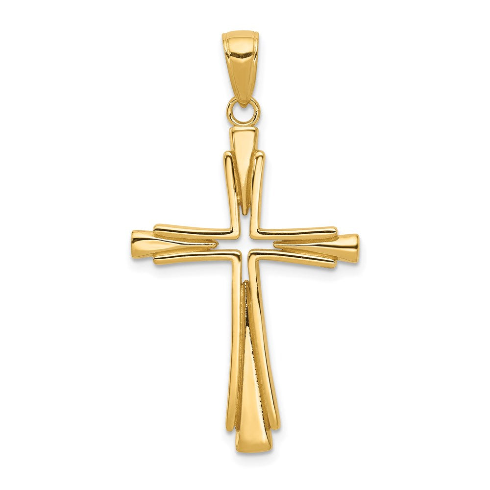 Quality Gold 14k Polished Solid Cross Pendant | Solid | Casted | Polished | 14k Yellow gold | Flat back | Polished back