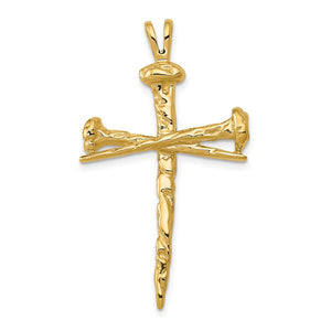 Quality Gold 14k Polished Cross Charm | Solid | Casted | Polished | 14k Yellow gold
