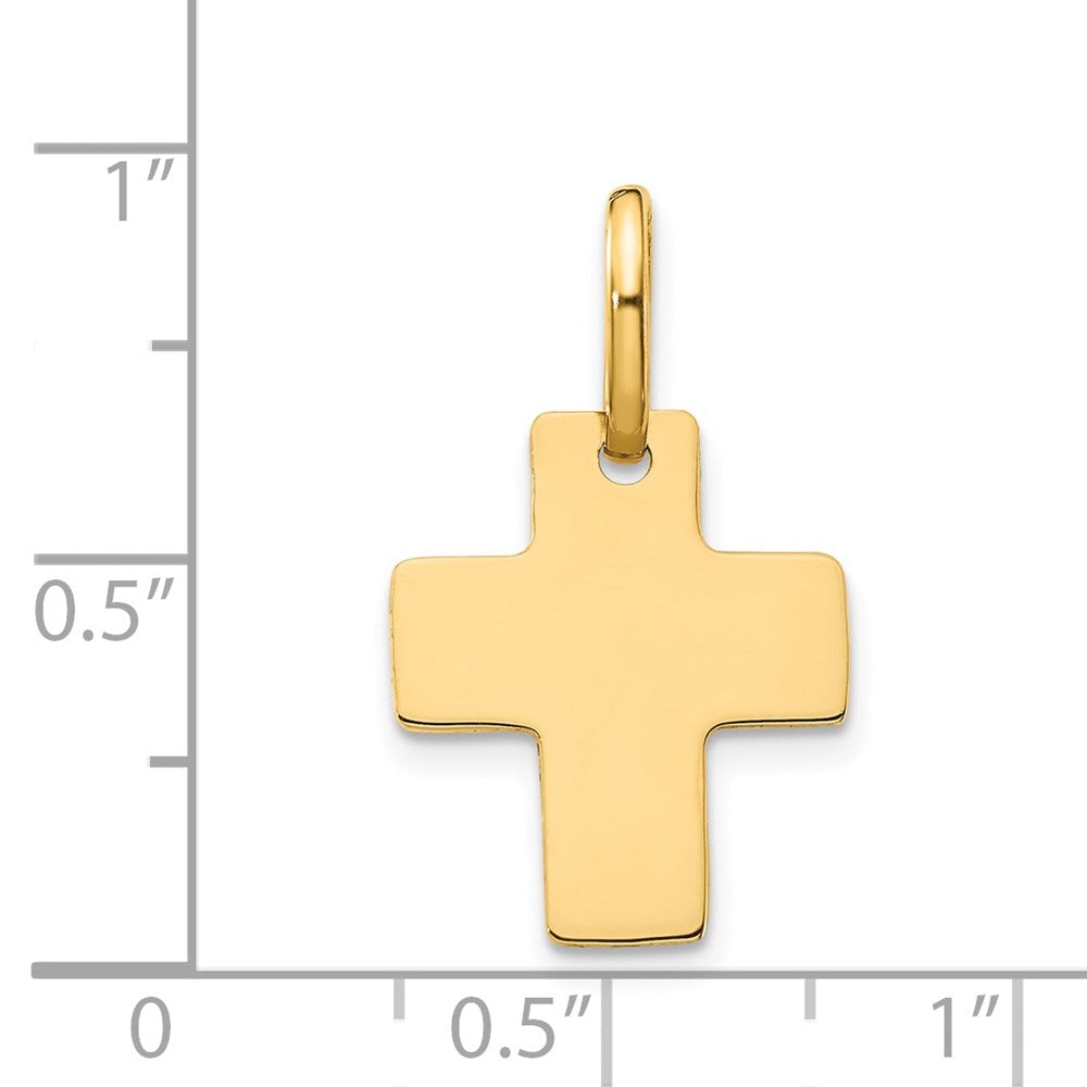 QG 14k Polished Cross Charm | Traditional Latin Cross Style | Men's | Women's | Pendants & Charms | 14k Yellow Gold | Size 22 mm x 13 mm