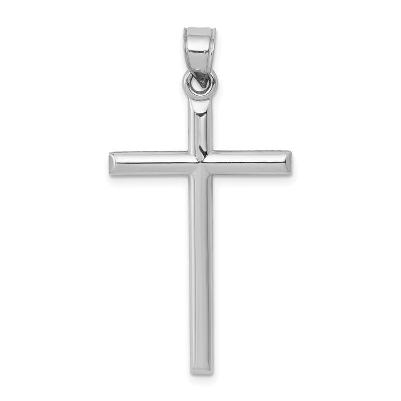 Quality Gold 14k White Gold Hollow Cross Pendant | Polished | 3-D | 14K White gold | Hollow