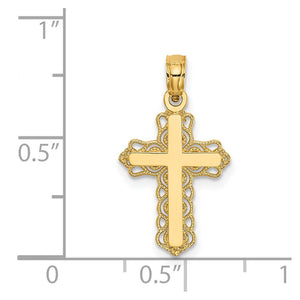 QG 14k Budded Cross Charm | Traditional Latin Cross Style | Men's | Women's | Pendants & Charms | 14k Yellow Gold | Size 23 mm x 12 mm