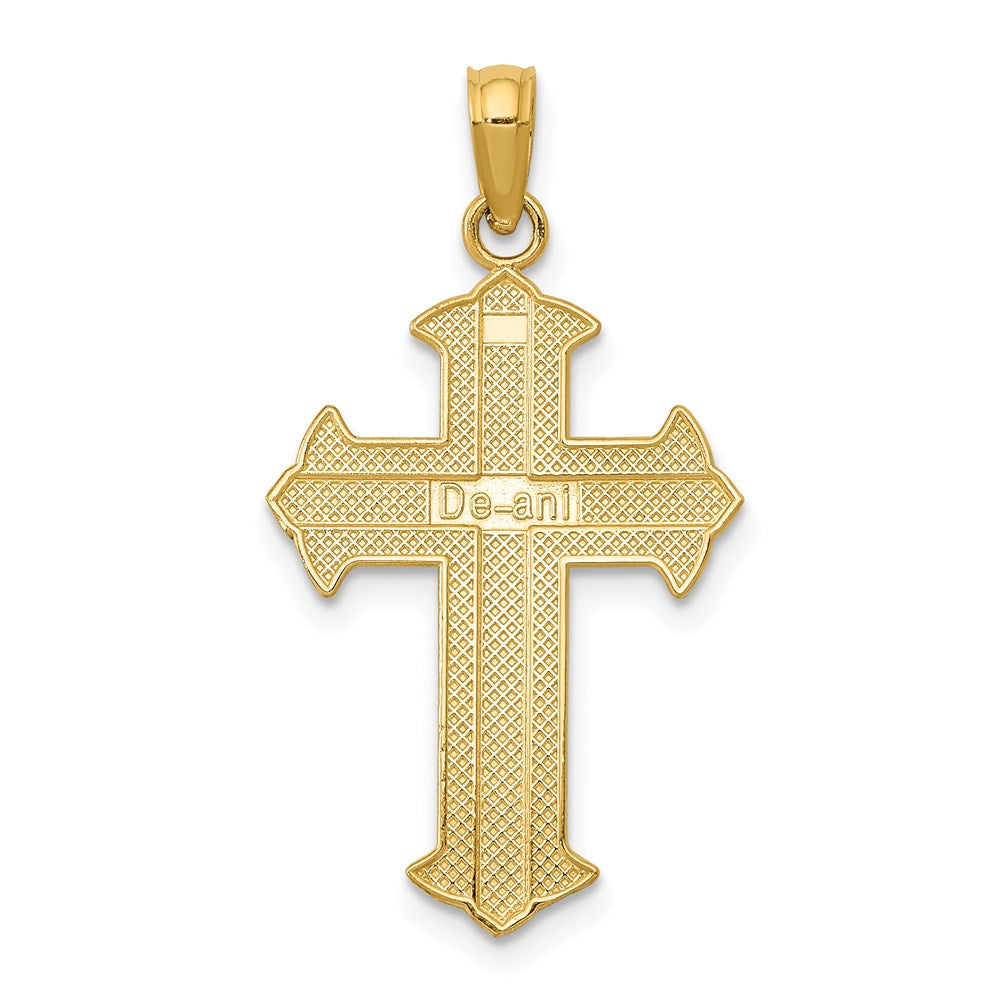 Quality Gold 14K Passion Cross Pendant | Solid | Casted | Polished | 14k Yellow gold | Textured back