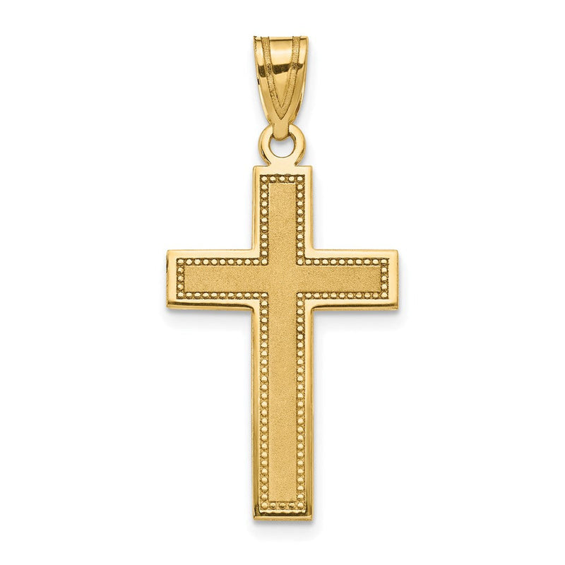 QG 14K Large Satin Cross Pendant | Traditional Latin Cross Style | Men's | Women's | Pendants & Charms | 14k Yellow Gold | Size 31 mm x 16 mm