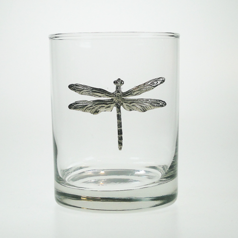 Maurice Milleur Dragonfly Double Old Fashioned Glasses