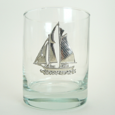 Maurice Milleur Sailboat Schooner Double Old Fashioned Glasses