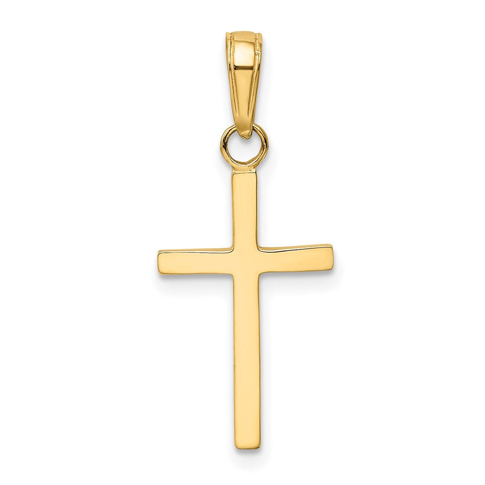 QG 14k Polished Cross Pendant | Traditional Latin Cross Style | Men's | Women's | Pendants & Charms | 14k Yellow Gold | Size 25 mm x 11 mm