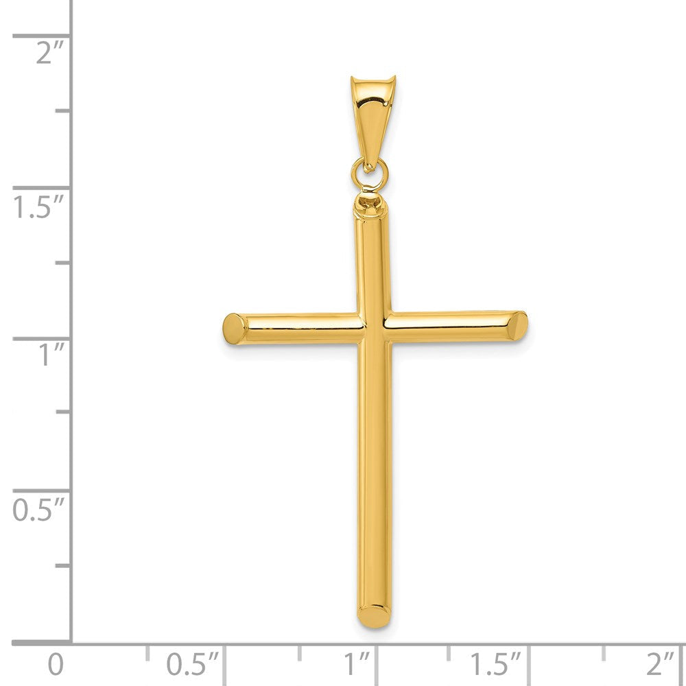 QG 14k 3-D Polished Hollow Cross Pendant | Traditional Latin Cross Style | Men's | Women's | Pendants & Charms | 14k Yellow Gold | Size 45 mm x 25 mm