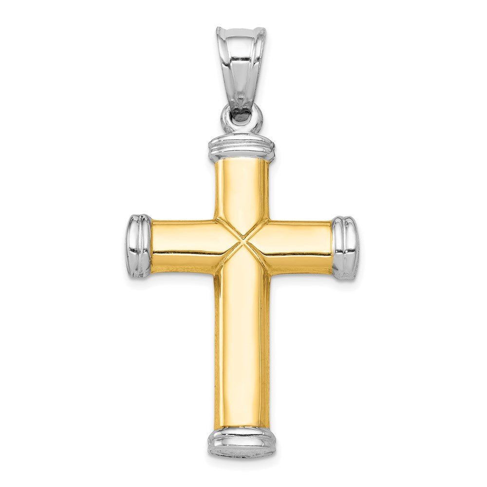 Quality Gold 14k Two-tone & Rhodium Reversible Cross | Diamond-cut | Polished | 14K Two-tone | Hollow | Reversible | Rhodium