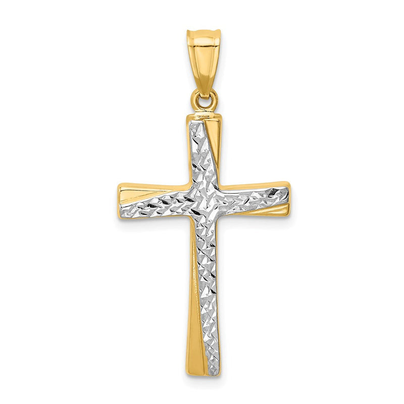 QG 14k w/Rhodium Diamond-cut Cross Pendant | Traditional Latin Cross Style | Men's | Women's | Pendants & Charms | 14k Yellow & Rhodium | Size 37 mm x 18 mm