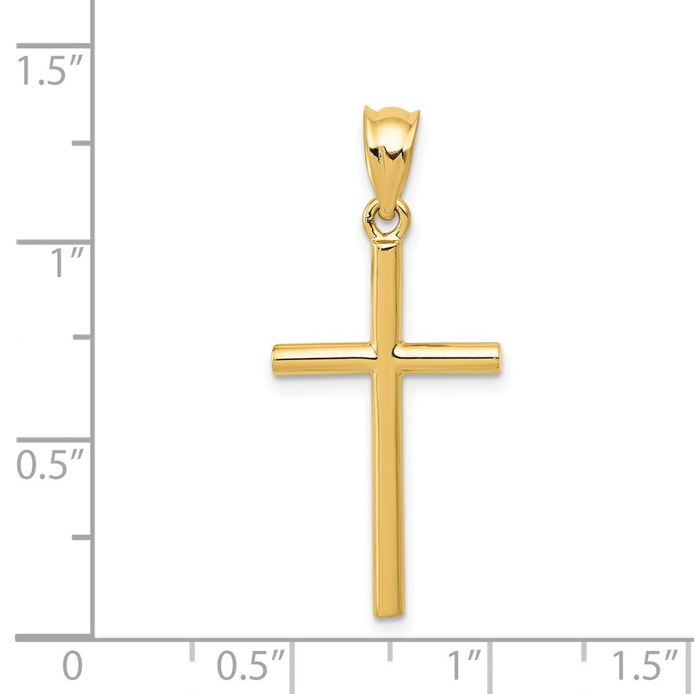 QG 14k Cross Pendant | Traditional Latin Cross Style | Men's | Women's | Pendants & Charms | 14k Yellow Gold | Size 25 mm x 14 mm