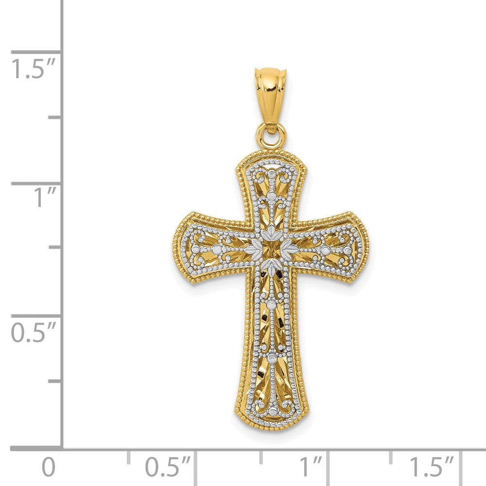 Quality Gold 14k Y/W Gold Polished 2 Level Cross Pendant | Polished | Textured | Two-tone | Solid Back