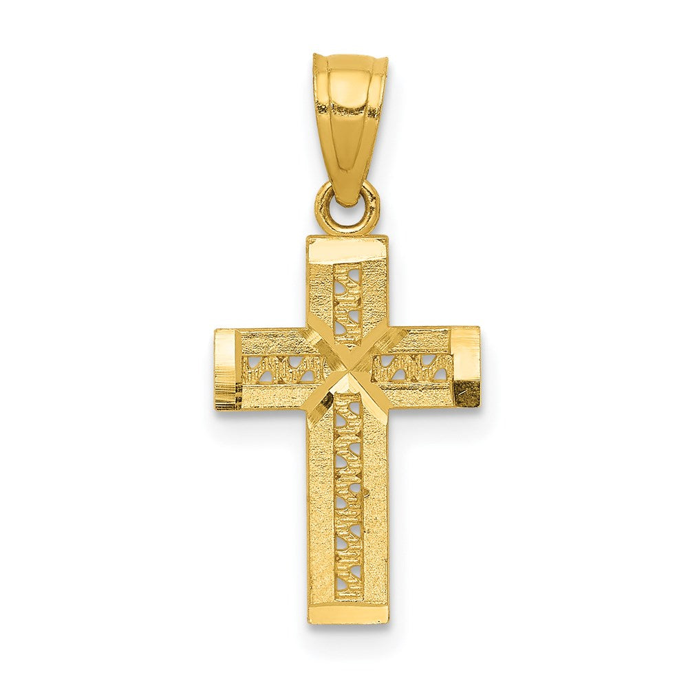 Quality Gold 14k Diamond-cut Cross w/X Center Pendant | Traditional Latin Cross Style | Men's | Women's | Pendants & Charms | 14k Yellow Gold | Size 21.05 mm x 9.95 mm