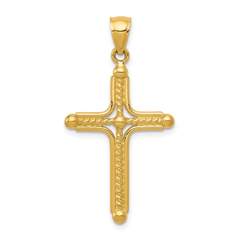 Quality Gold 14k Polished Braided Cross Pendant | Traditional Latin Cross Style | Men's | Women's | Pendants & Charms | 14k Yellow Gold | Size 35.61 mm x 16.7 mm