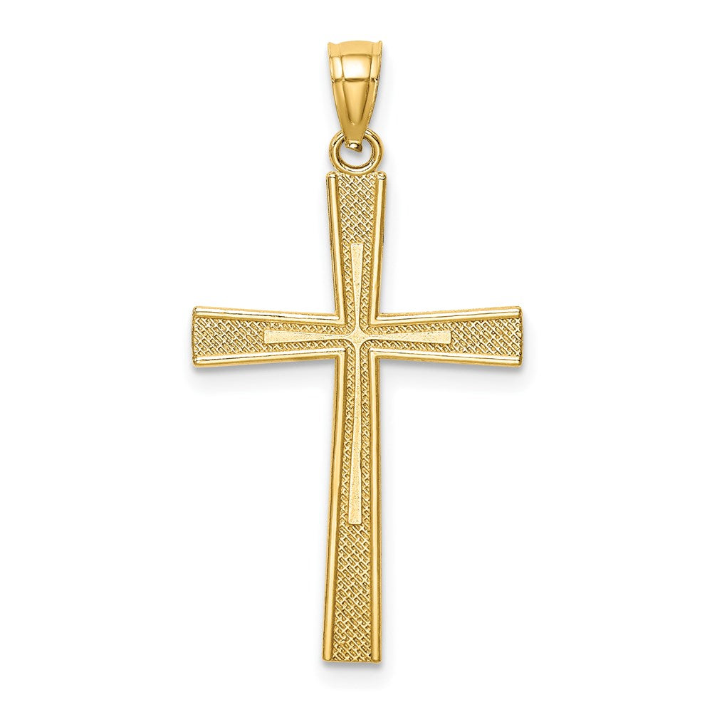 QG 14k Reversible Satin/Diamond-cut Cross Pendant | Traditional Latin Cross Style | Men's | Women's | Pendants & Charms | 14k Yellow Gold | Size 26 mm x 14.47 mm