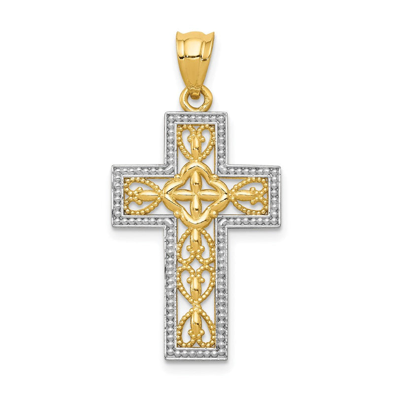 Quality Gold 14k w/White Rhodium Polished Filigree Cross Pendant | Traditional Latin Cross Style | Men's | Women's | Pendants & Charms | 14k Yellow & Rhodium | Size 31.9 mm x 16.36 mm