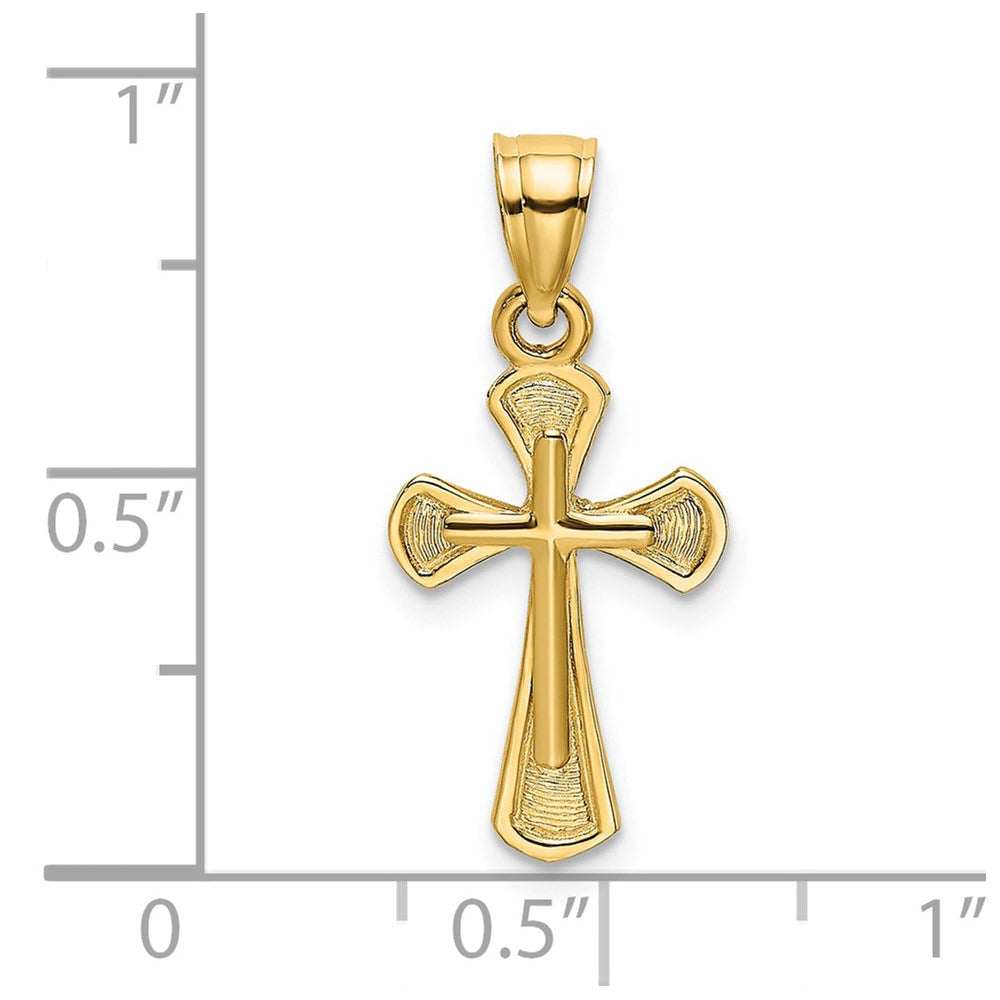 QG 14K Solid Textured Cross Charm | Traditional Latin Cross Style | Men's | Women's | Pendants & Charms | 14k Yellow Gold | Size 15.3 mm x 10 mm