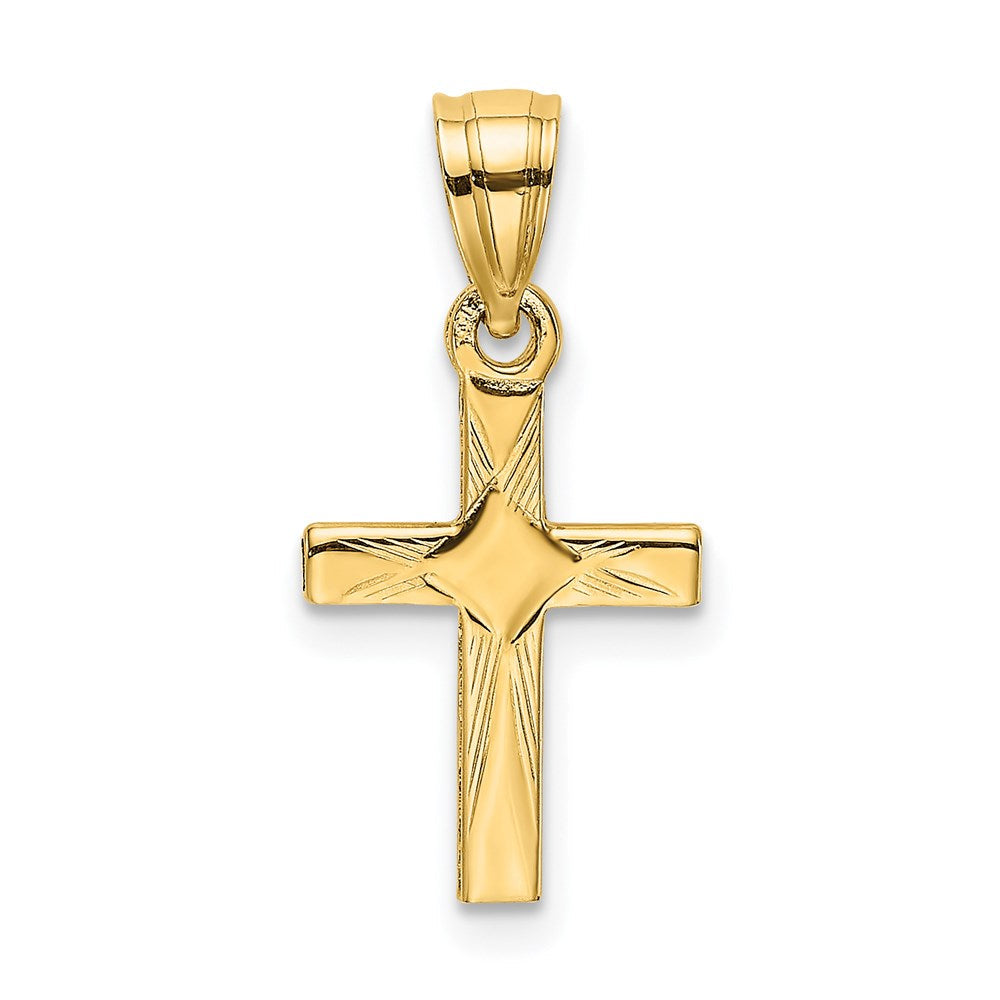 Quality Gold 14K Diamond Shape Center Mini Cross Charm | Traditional Latin Cross Style | Men's | Women's | Pendants & Charms | 14k Yellow Gold | Size 17.7 mm x 9 mm