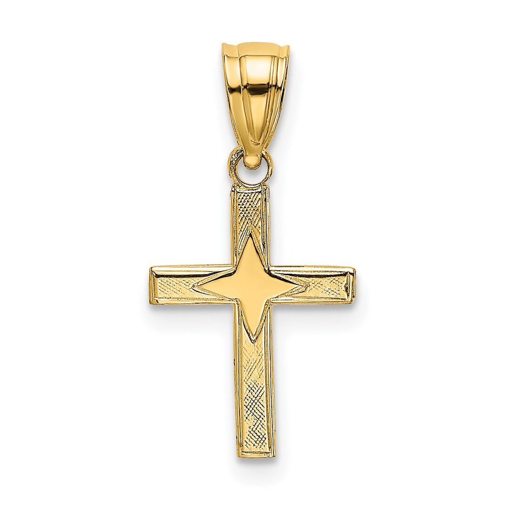 QG 14K Polished w/ Star Pattern Mini Cross Charm | Traditional Latin Cross Style | Men's | Women's | Pendants & Charms | 14k Yellow Gold | Size 17.3 mm x 9 mm