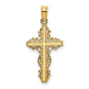 Quality Gold 14K Stick Cross w/ Lace Trim Charm | Traditional Fancy Cross Style | Men's | Women's | Pendants & Charms | 14k Yellow Gold | Size 18.9 mm x 13 mm
