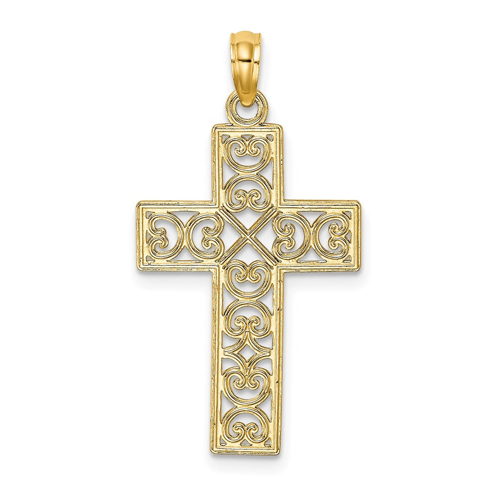 QG 14K Polished Sqaure Cross w/ Heart Design Charm | Traditional Fancy Cross Style | Men's | Women's | Pendants & Charms | 14k Yellow Gold | Size 25 mm x 17 mm
