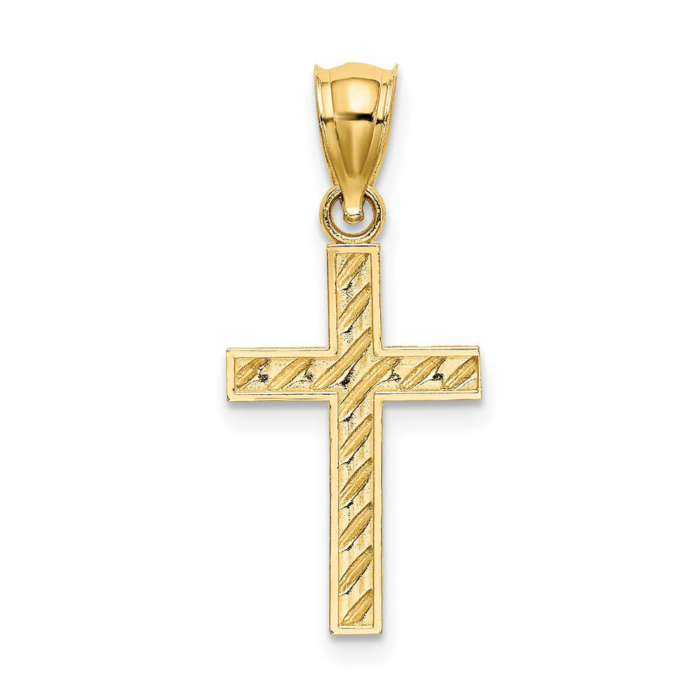Quality Gold 14K Beaded and Polished Cross Charm | Traditional Latin Cross Style | Men's | Women's | Pendants & Charms | 14k Yellow Gold | Size 17.3 mm x 12 mm