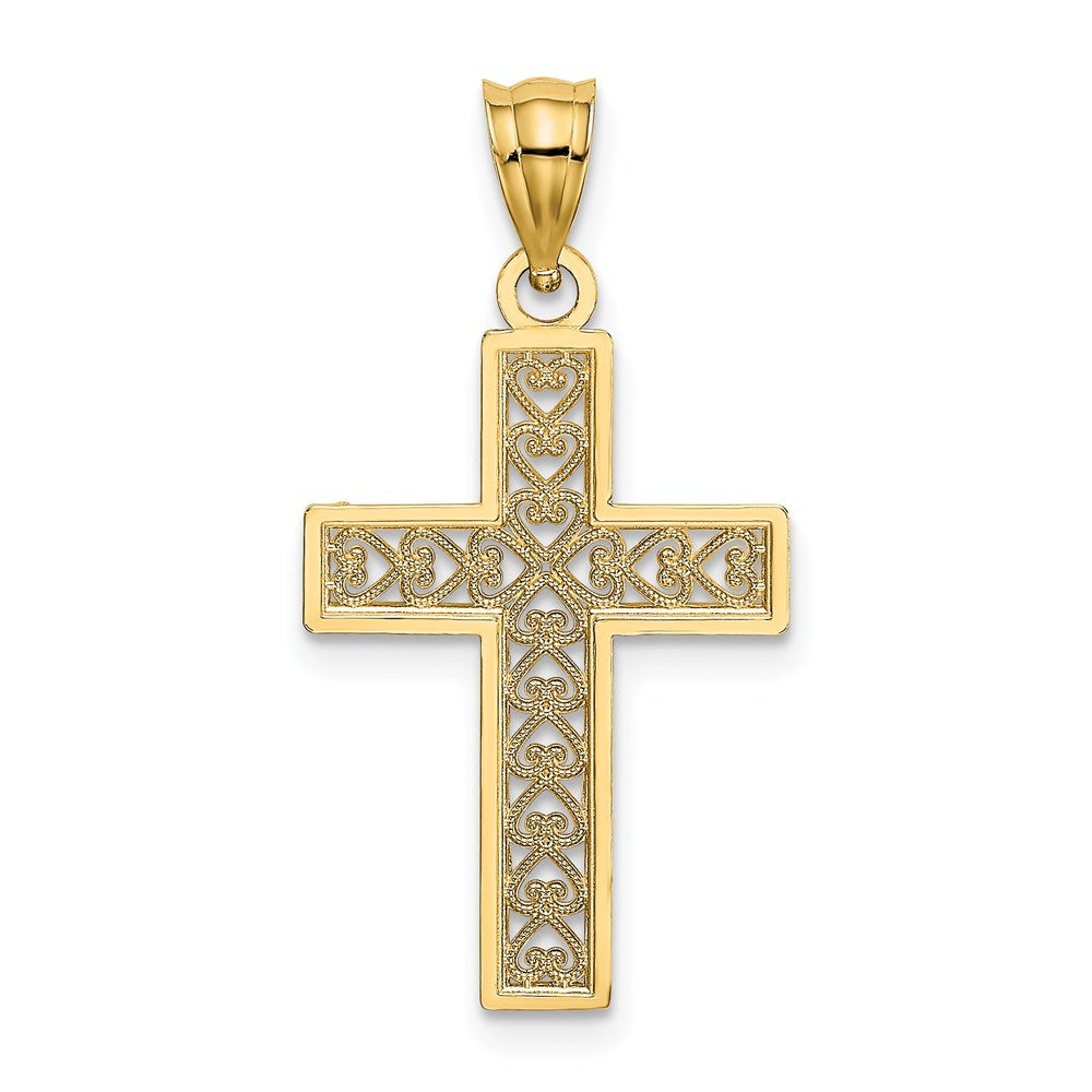 QG 14K D/C EDGE & FILIGREE CENTER CROSS Charm | Traditional Fancy Cross Style | Men's | Women's | Pendants & Charms | 14k Yellow Gold | Size 21.75 mm x 16 mm