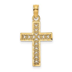 Quality Gold 14K D/C EDGE & FILIGREE CENTER CROSS Charm | Traditional Fancy Cross Style | Men's | Women's | Pendants & Charms | 14k Yellow Gold | Size 17.45 mm x 12 mm