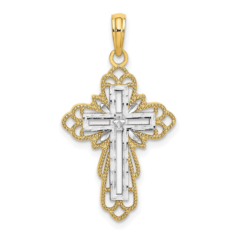 Quality Gold 14k w/ RH & Lace Trim Cross Charm | Traditional Fleur de Lis Cross Style | Men's | Women's | Pendants & Charms | 14k Yellow & Rhodium | Size 23.7 mm x 17 mm
